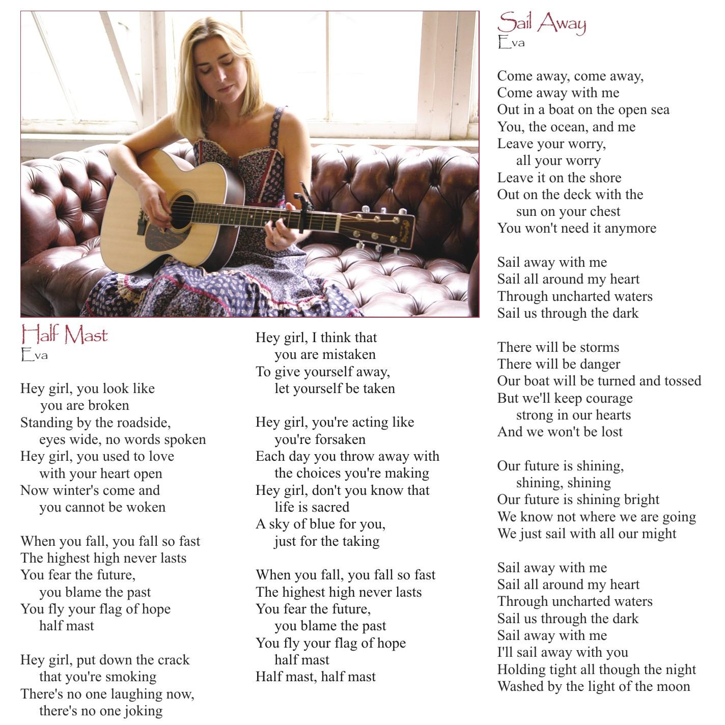 "Eva Tree - Sail Away - CD Booklet, Page 4, Photo by Michael Bauer, ""Half Mast"" ""Sail Away"""