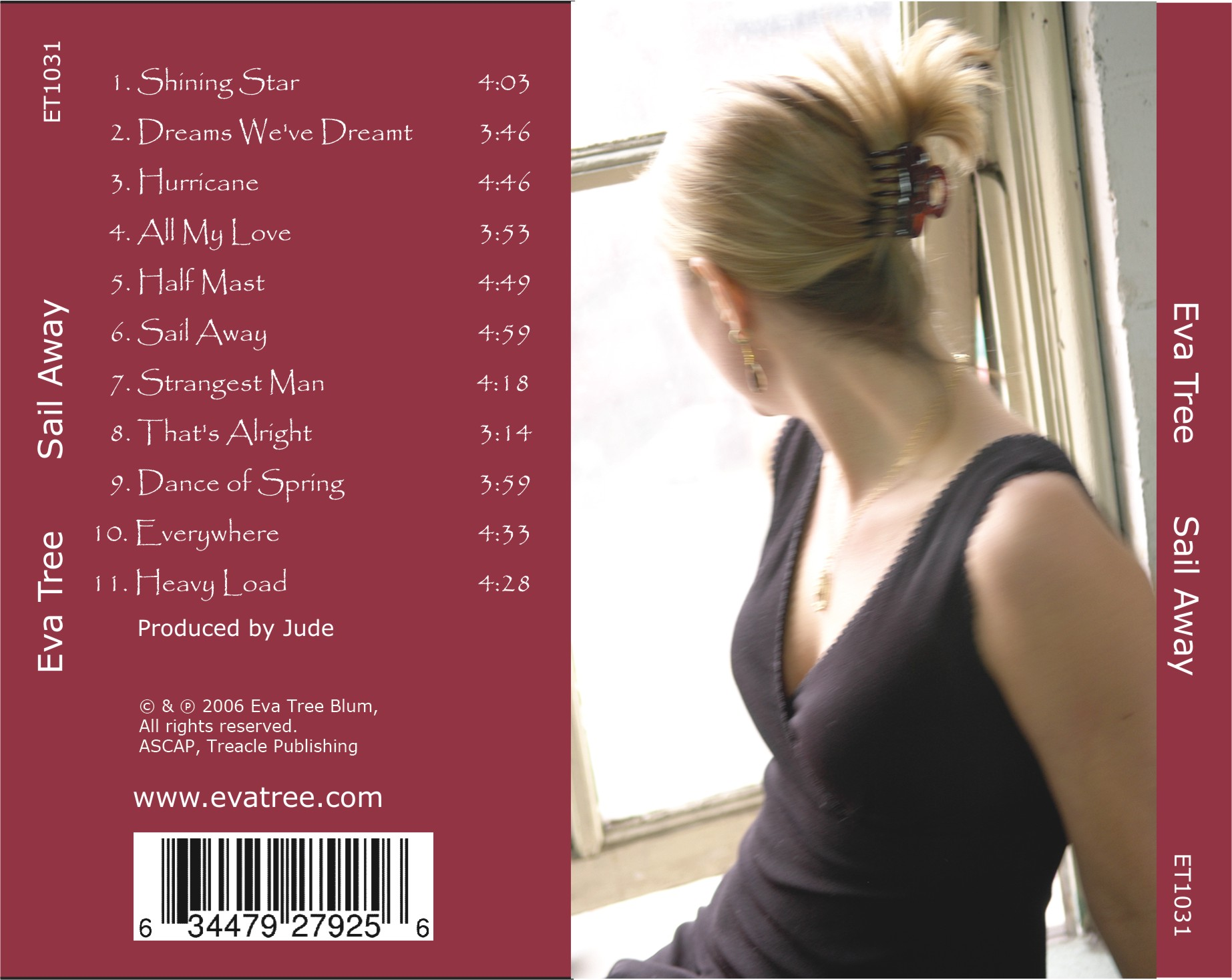 Eva Tree - Sail Away - CD Traycard Back, Song Contents, Copyright, Barcode,  Photo by Michael Bauer